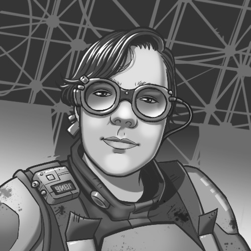 Greyscale head-and-shoulders illustration of a woman with glasses in a space jumpsuit.